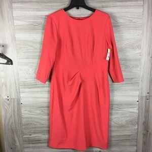 St John Red Mid Sleeve Silk Dress
